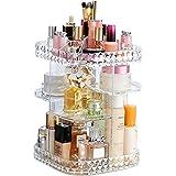 منظم المكياج صندوق تخزين مستحضرات التجميل دوار 360 درجة، حقيبة عرض مستحضرات التجميل، رف مربع لوضع المكياج بنمط ماسي - 2621
