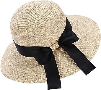 Eight Space Cappello da Sole da Donna,Cappello Estivo Pieghevole,Elegante Cappello di Paglia a Tesa Larga con Fiocco,Protezione UV