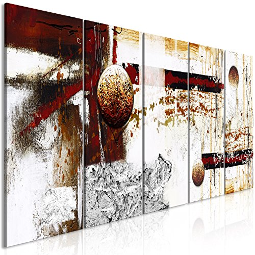 murando - Cuadro Abstracto 225x90 cm - Impresion en Calidad fotografica - 5 Partes - Cuadro en Lienzo Tejido-no Tejido - Blanco Oro Gris Rojo a-A-0352-b-m