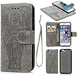 Coque iPhone 6 6S Etui Flip Cover Clapet 2 en 1 Coque Protecteur en Cuir PU avec TPU Silicone Housse avec Portable Dragonne Stand Support et Carte de Crédit Slot -- Gris