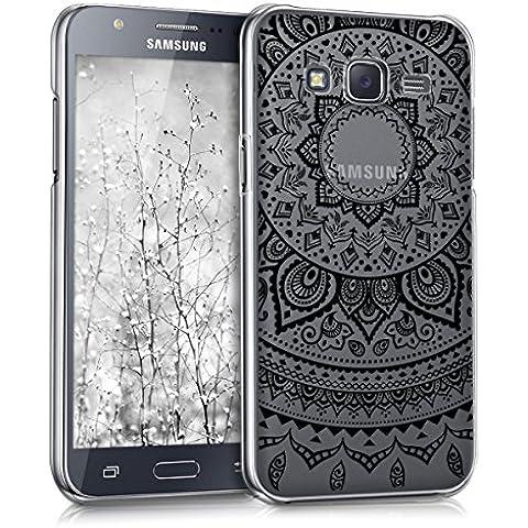kwmobile Elegante y ligera funda Crystal Case Diseño sol indio para Samsung Galaxy J5 (2015) en negro transparente