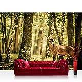 Fototapete 368x254 cm PREMIUM Wand Foto Tapete Wand Bild Papiertapete - Tiere Tapete Hirsch Tier Fell Geweih Wald Bäume braun - no. 2486