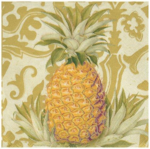 Caspari Geschenktasche , 20Pack Gold Servietten aus der Royal Ananas