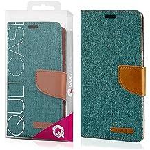 EGO® Etui Tipo Libro Carcasa con Función de Soporte para Samsung Galaxy S7 edge G935 Verde Carcasa con Cierre Magnético con Ranuras para Tarjetas Cartera Protección de Lienza para móvil