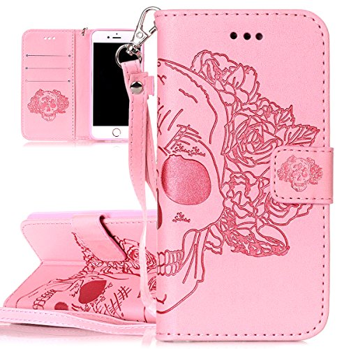 Custodia per Apple iPhone 7, ISAKEN iPhone 7 Flip Cover con Strap, Elegante Sbalzato Embossed Design in Pelle Sintetica Ecopelle PU Case Cover Protettiva Flip Portafoglio Case Cover Protezione Caso co rose:rosa
