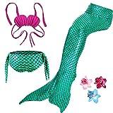 3 Pièces Maillot de Bain Princesse Queue de Sirène Mermaid Bikini(Il y a la Boucle au Bas de la Queue,Pouvez Ouvrir pour Marcher ou Fermer pour Ajouter Monopalme) (130(6-7Ans), Vert)