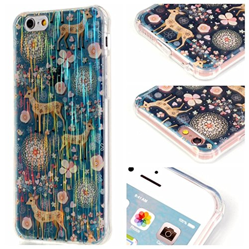 PowerQ Bubble Blase Serie Drop Proof Tropfen Anti Widerstand buntes Muster TPU Case Hülle < Colorful Tree | für IPhone 6 6S IPhone6S IPhone6 >        Corner Gassack Blase Stoßstange Airbag Drop Resistance Dr Blue Deer