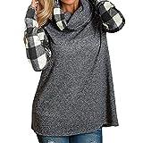 feiXIANG mode frauen Damen Ladies check lang ärmel iges hemd der rollkragen pullover tops t - shirts tunika sweatshirt (XXL, Schwarz)