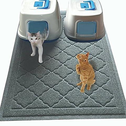 Tapis pour bac à litière de chat de très grande taille - (119 x 91 cm) – Tapis pour bac à litière de très grande taille comportant des rainures pour faciliter la rétention de la litière– Doux et agréable pour les pattes- (Brevet en cours d'obtention)