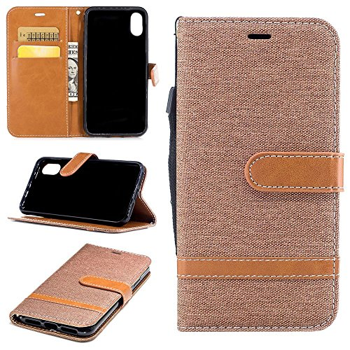 "MOONCASE iPhone X Flip Cover, Weich PU Leder mit Standfunktion Handysocken Built-in Card Holster Folio Brieftasche Hülle Case für iPhone X 5.8"" Blau Braun"