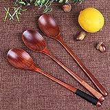 K&C 3 piezas de mano del estilo japonés sopa de cuchara de madera cubierto Conjunto de madera natural de servicio con la línea encadenada para gestionar