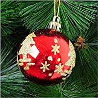 Easyshop 6pcs da appendere all' albero di Natale rosso glitter palline palla di Natale Decorazioni per albero di Natale