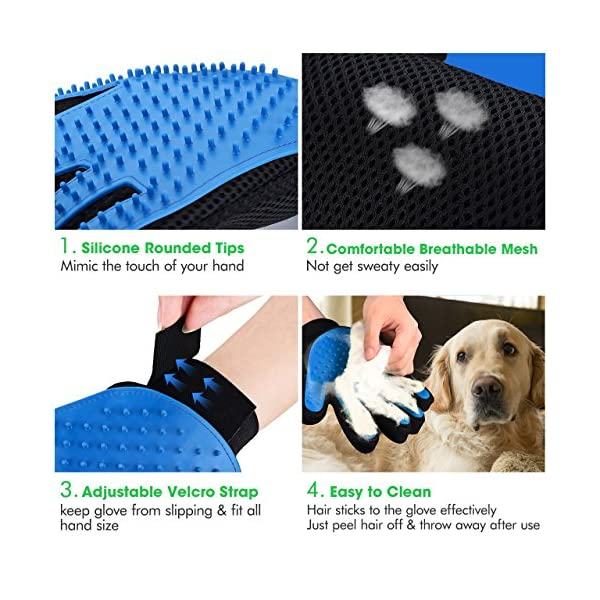 OMorc Pet Grooming Glove, Gentle Deshedding Brush Glove - 2 Right Hand  Efficient Pet Hair Remover Mitt - Massage Tool with Enhanced Five Finger Design Perfect for Dogs & Cats with Long & Short Fur 1