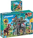 Playmo PLAYMOBIL® The Explorers 2er Set 9429 9431 Basecamp mit T-Rex + Motocross-Bike mit Raptor