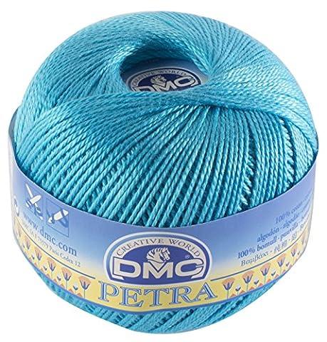 Fil DMC Petra, 100% coton, bleu, Taille 5