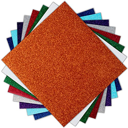 Transferfolie Vinyl Glitzer Wärmeübertragung Papier Mehrfarbig/T Shirt Heat Transfer/3 Blätt/Transferpresse Vinylfolie, Textilfolie, Transferpapier/Silhouette Cameo, Cricut/25,6 X 24,4 cm/Mod.3G7 -