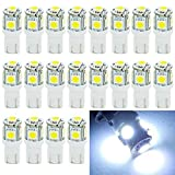 EverBright 20-Pack blanco T10 W5W de 194 168 2825 5050 5 SMD LED bombilla para coche recambio luces interiores separación cuña bóveda tronco tablero bulbo placa luz lámpara DC 12V