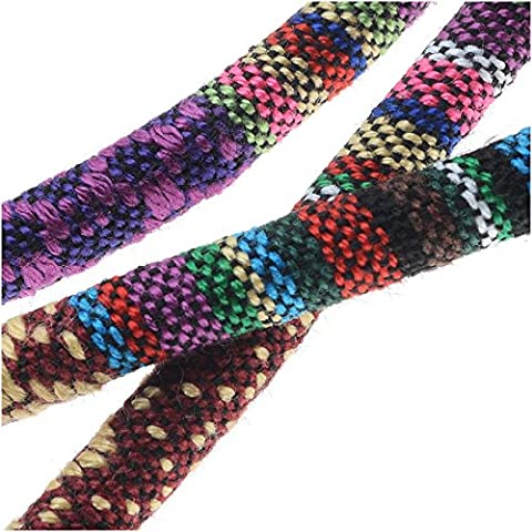 Multi-Colored Cotton Cord, Round Woven Strands 6mm Thick, 3 Feet, Purple Mix
