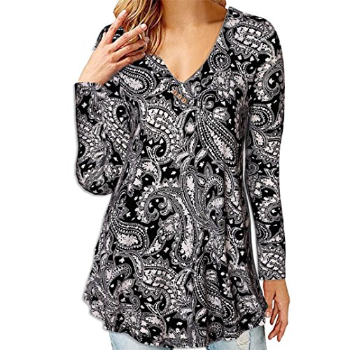 Lazzboy Womens Solid Color Print Long Sleeve Casual Loose Tops Tunic Blouse Shirt(S,Black Print)