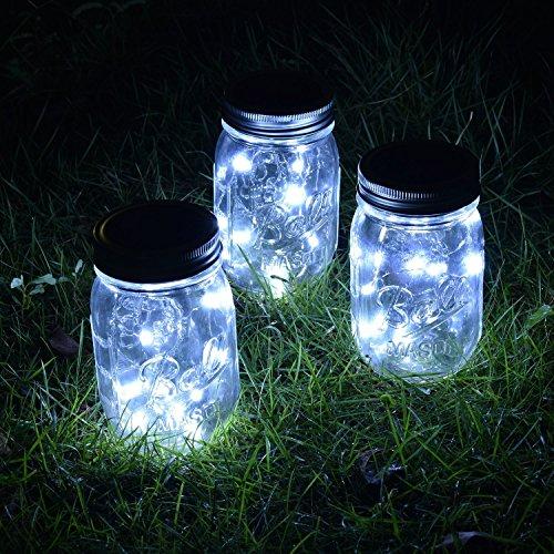 VCHENG 3 Stück Solar Gläser Deckel Licht, LED-Licht Mason Jar Deckel Insert LED String Fairy Lichter für Standard Einmachglas Gläser (Weiß) - 5