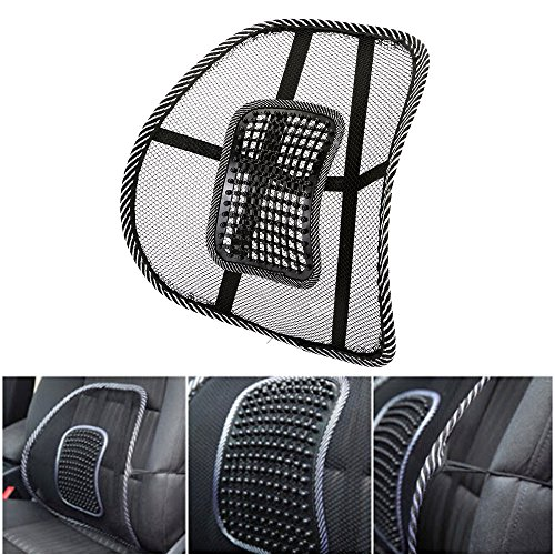 Preisvergleich Produktbild KT-SUPPLY Rückenstütze Kissen Mit Massage Roller Für Autositz Oder Bürostuhl Schwarz