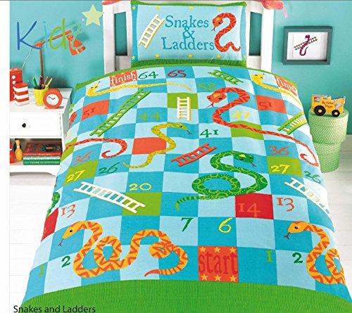 Housse de couette pour enfant, lit enfant, filles, garçons chambre, chambre Ado, lit simple, lit avec jeux, Snakes and Ladders, Simple