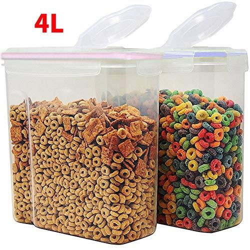 Contenitori per cereali 2 x 4 litri lavabili lavastoviglie per cereali pasta riso cibo secco cibo per animali caffè farina facile da aprire
