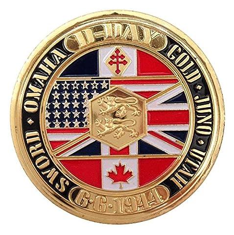 Rare Plaqué or 24K WW2commémorative pièce de monnaie commémorative d'Jour