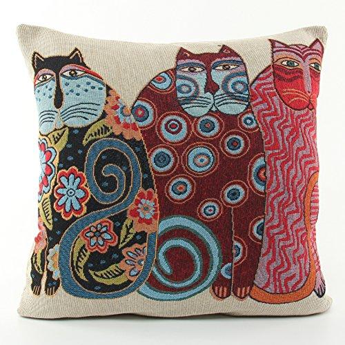 Foto de Joielavie - Funda de cojín, diseño de gato, ojos, flores, corazones, sol, luna, mezcla de lino y algodón, cuadrado, para sofás, camas, casas, de 45x 45cm