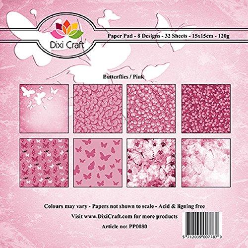 Dixi 32Blatt) Craft sortiert 15cm x 15cm Square Schmetterlinge-pink Craft Papier - Square Schmetterling Blatt