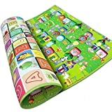 AZOD Waterproof Double Side Baby Play Crawl Floor Mat for Kids Picnic Play School Home with Zip Bag to Carry (120x180) cm