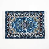 Odoria 1/12 Miniatur Vintage Teppich Blau Für Puppenhaus Dekoration Zubehör