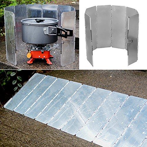 SueSupply Faltbar Windschutz Windschutzscheibe Windscreen mit 8-Lamellen aus Aluminium Outdoor für Campingkocher,Gaskocher Camping gaskocher windschutz faltbarer alu-windschutz (Flamme Windschutzscheibe)