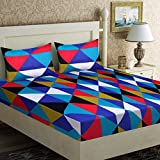 Home Elite Dynamic 124 TC Cotton Double Bedsheet with 2 Pillow Covers - Geometric, Multicolour