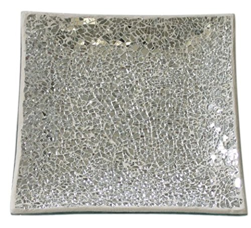 Square Silver Mirror Mosaic Decorative Dish