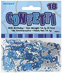 Idea Regalo - Unique Party 55212 Coriandoli in Foil per 18° Compleanno, Blu Brillante