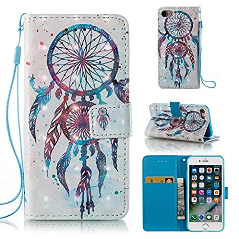 Ecoway iPhone 7/7G (4,7 zoll) Case 3D painting leather case PU leather case (Couple bell chimes (white)), iPhone 7/7G (4,7 zoll) protective cover phone bracket function card slot & removable hand strap design-Couple bell chimes