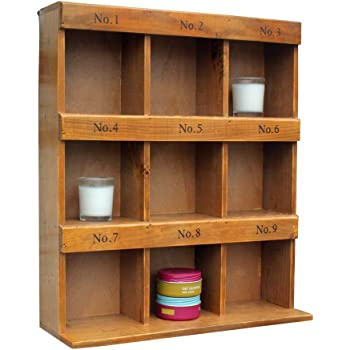 Small Pigeon Hole Cabinet Shabby Chic Wooden Wall Storage Unit 8 Cubicle  Shelves Home Decorative Display