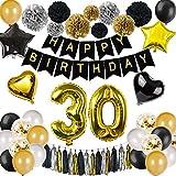 DANXIAN Deko 30 Geburtstag, Geburtstag Dekoration Set Schwarz Gold mit Große 30 Luftballons Happy Birthday Banner, Papier Pom Poms für Männer und Frauen Party Decor