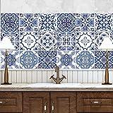 wall art (Confezione 24 Pezzi) Adesivi per Piastrelle Formato 20x20 cm - Made in Italy - PS00093 Adesivi in PVC per Piastrelle per Bagno e Cucina Stickers Design - Praiano