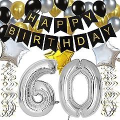 Idea Regalo - KUNGYO 60 Buon Compleanno Festa Decorazioni Kit - Nero Striscione di Happy Birthday, Pallone 60 in Argento, Stelle Palloncini , Lattice Ballon, Turbinii Appesi, Rifornimenti per Feste di 60 Anni