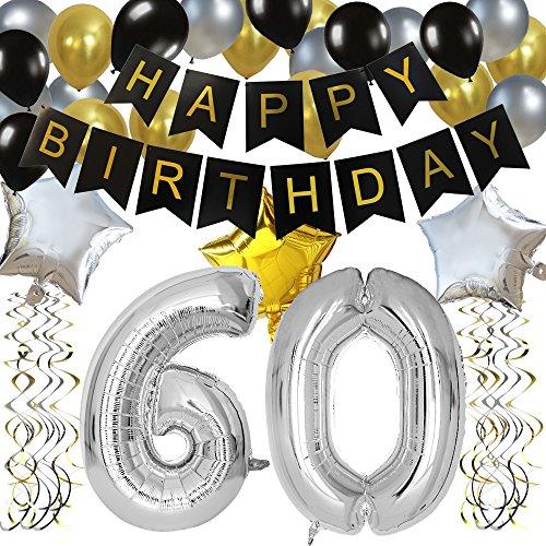 KUNGYO Classy 60. Geburtstag Party Dekorationen - Happy Birthday Banner, Silber 60 Mylar Folienballon, Star & Latex Ballon, Hängende Wirbel, Alles Gute Zum Geburtstag Zubehör Für Frauen Männer
