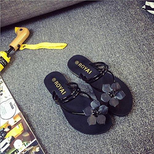 DM&Y 2017 infradito piatto primavera. sandali casuali dei sandali delle donne Black