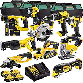 DeWalt 18V XR Cordless Li-Ion 10pcs Monster Kit DCD785, DCF885, DCS391, DCG412, DCS331, DCS355, DCP580, DCH273, DCS380, DCL040 With 3 x 4.0AH DCB182, DCB115