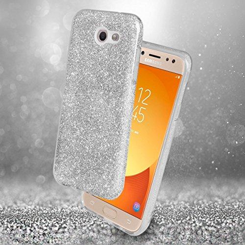EGO ® Glitzer Schutzhülle für Samsung J510 Galaxy J5 2016, Gold Back Case Bumper Glänzend Transparente TPU Bling Weiche Glamour Handy Cover Lipgloss Silber