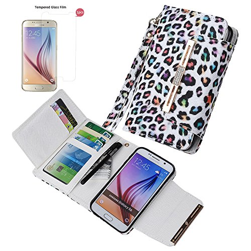 """xhorizon (TM) FM8 [Aktualisiert] 2 in 1 Premium Bunte Leopard Leder Brieftasche Kristallknopfverschluss Magnet Auto Mount Phone Halter Kompatibel Folio Tasche für iPhone 6 Plus/iPhone 6S Plus [5.5"""" Samsung S6 mit 9H Ausgeglichen GlasFilm"""