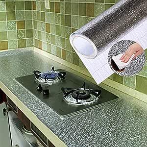 FAINLIST 2 mt. Meters Oil-Proof Aluminum Foil Backslash Wallpaper Stickers Waterproof Kitchen Stove Sticker for Kitchen Wall Desk Drawer