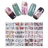 bonniestore 24patrones flores de colores Serie Agua adhesivo de transferencia de uñas manicura Foils Uñas Arte Decoración DIY