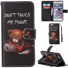 Ooboom® Funda para Apple iPod Touch 6/5 Flip Wallet Case Cover Elegante Carcasa Piel PU Billetera Soporte con Ranuras Tarjetas Correa de Muñeca Cierre Magnético - Oso