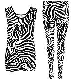 Top Fashion Damen Mädchen 2-teiliges Set Zebra-Druck Ärmelloses Ober Leggings Größe 36-42